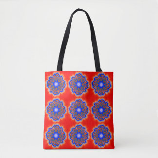 Bright Blue & Red Mandala Flowers Tote Bag