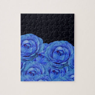Bright Blue Roses Black Background Puzzles