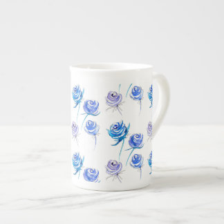 Bright blue roses tea cup