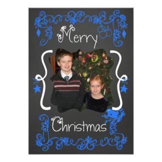 Bright Blue Scrolls Customized Photo Holiday Card
