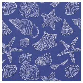 Bright Blue Shell Pattern   Add Your Initial 2 Fabric