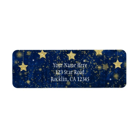 Bright Blue & Silver Starry Celestial Invitation Return Address Label