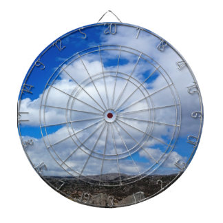 BRIGHT BLUE SKY WITH WHITE CLOUDS DARTBOARD