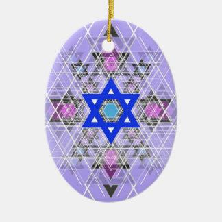 Bright Blue Star. Ceramic Oval Ornament