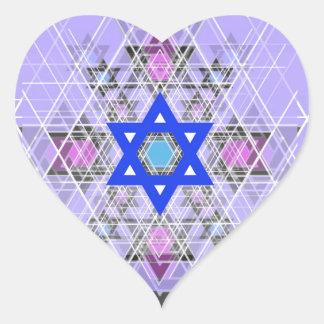 Bright Blue Star. Heart Sticker