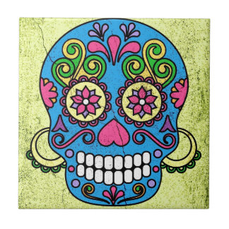 Bright Blue Sugar Skull Day of the Dead! Tile