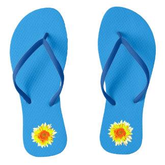 Bright Blue Sunflower on Flip Flops