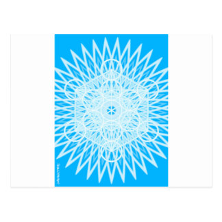 bright blue throat chakra sacred geometry postcard