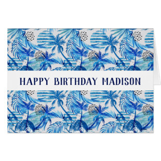 Bright Blue Tropical Watercolor Pattern Card