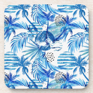 Bright Blue Tropical Watercolor Pattern Coaster