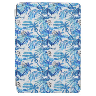 Bright Blue Tropical Watercolor Pattern iPad Air Cover
