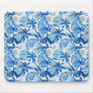 Bright Blue Tropical Watercolor Pattern Mouse Pad