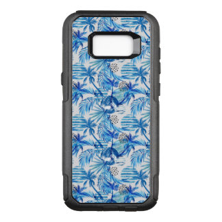 Bright Blue Tropical Watercolor Pattern OtterBox Commuter Samsung Galaxy S8+ Case