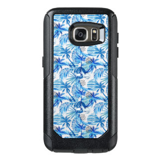 Bright Blue Tropical Watercolor Pattern OtterBox Samsung Galaxy S7 Case