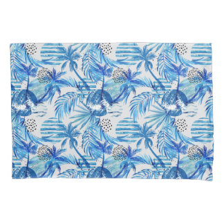 Bright Blue Tropical Watercolor Pattern Pillowcase