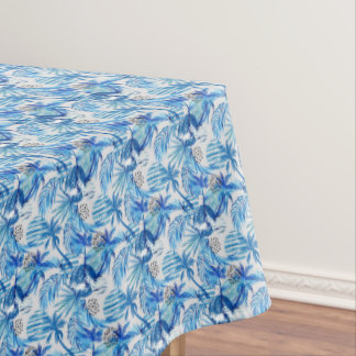 Bright Blue Tropical Watercolor Pattern Tablecloth