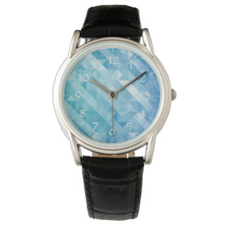 Bright blue turquoise polygonal men's watch