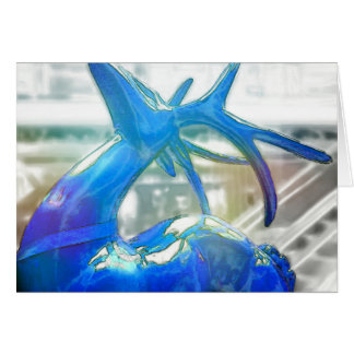 BRIGHT BLUE UP ON THE ROOFTOP 5x7 Greeting Card