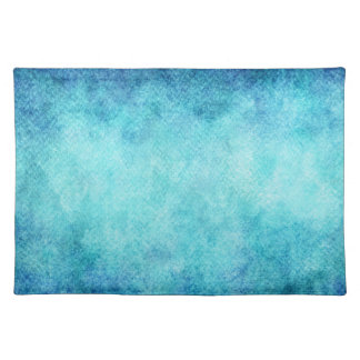 Bright Blue Watercolor Personalized Background Placemat