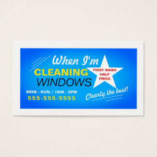 Bright Blue Window Cleaner Business Card