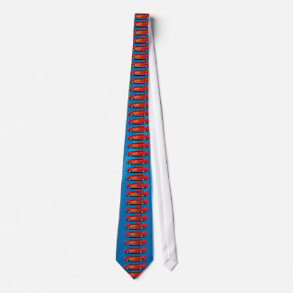 Bright Blue with Red Sports Car Flames Guys Tie