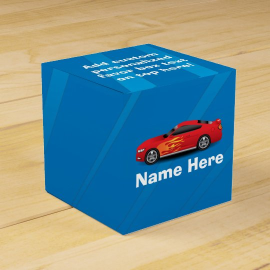 Bright Blue with Red Sports Car Flames Kids Boys Favor Boxes