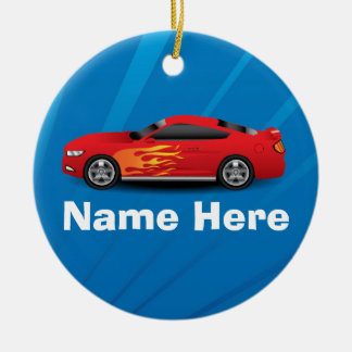 Bright Blue with Red Sports Car Flames Kids Boys Round Ceramic Ornament