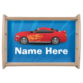Bright Blue with Red Sports Car Flames Kids Boys Serving Platters