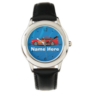 Bright Blue with Red Sports Car Flames Kids Boys Watch