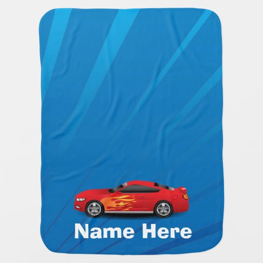 Bright Blue with Red Sports Car Flames Kids Boys Receiving Blanket