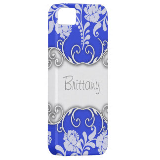 Bright Blue with White Roses Personalised iPhone 5 Cover