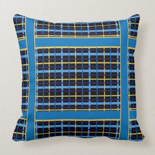 Bright Blue Yellow Plaid Throw Design Throw Pillow