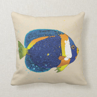 Bright Blue Yellow Tropical Angelfish Illustration Throw Pillow