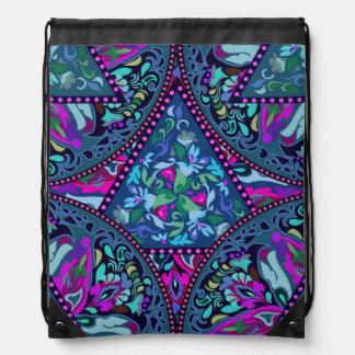Bright Bohemian Boho Hippy Chic Pattern Drawstring Bag