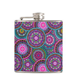 Bright Bohemian Boho Hippy Chic Pattern Hip Flask