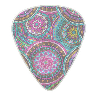 Bright Bohemian Boho Hippy Chic Pattern Pearl Celluloid Guitar Pick