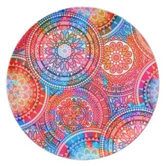Bright Bohemian Boho Hippy Chic Pattern Plate