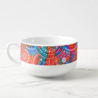 Bright Bohemian Boho Hippy Chic Pattern Soup Bowl With Handle