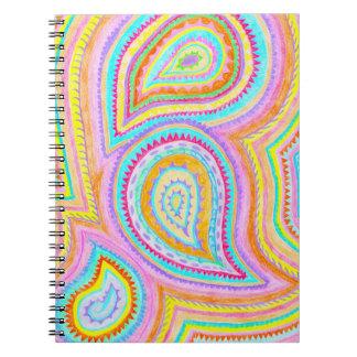 Bright Bohemian Paisley Retro Pattern Notebooks