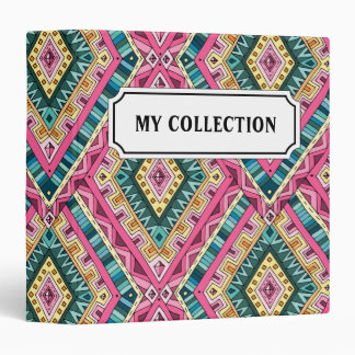 Bright Boho Colorful abstract tribal pattern 3 Ring Binder