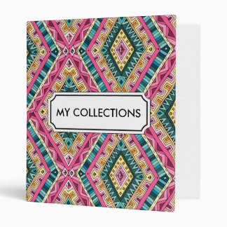 Bright Boho Colorful abstract tribal pattern 3 Ring Binders