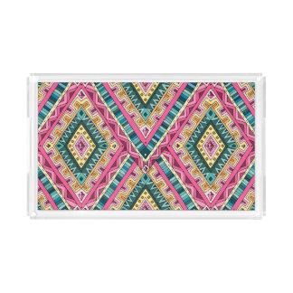 Bright Boho Colorful abstract tribal pattern Acrylic Tray