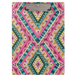 Bright Boho Colorful abstract tribal pattern Clipboard