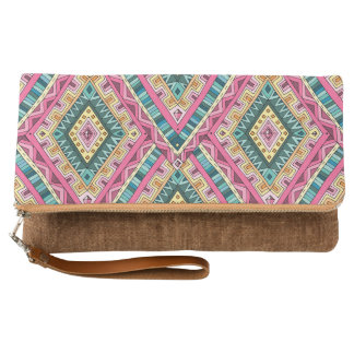 Bright Boho Colorful abstract tribal pattern Clutch