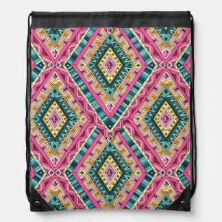 Bright Boho Colorful abstract tribal pattern Drawstring Bag