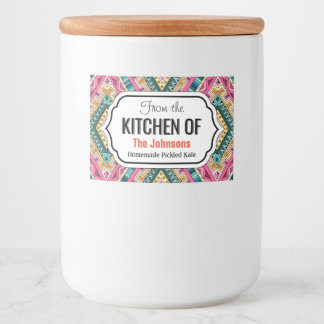 Bright Boho Colorful abstract tribal pattern Food Label
