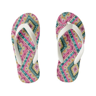 Bright Boho Colorful abstract tribal pattern Kid's Flip Flops
