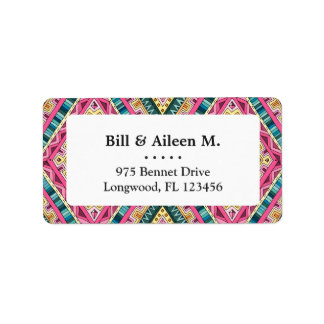 Bright Boho Colorful abstract tribal pattern Label