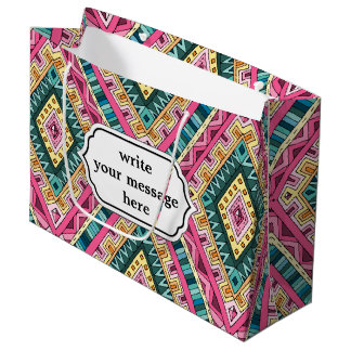 Bright Boho Colorful abstract tribal pattern Large Gift Bag
