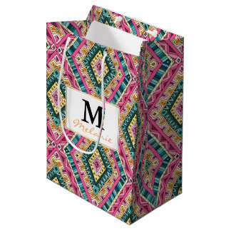 Bright Boho Colorful abstract tribal pattern Medium Gift Bag